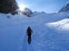 Der steile Alpeiner Kräulferner liegt vor uns, das folgende Spitzkehrenbalett lässt sich schon erahnen.